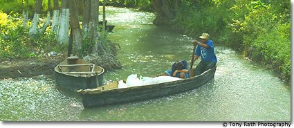 Mayan Boat Crossing the Rio Hondo at Santa Clara