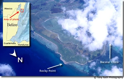Aerial view of Rocky Point and Bacalar Chico